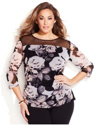 INC International Concepts | Purple Plus Size Floral-Print Illusion Top | Lyst