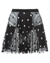 Marco De Vincenzo - Black Lace Overlay Pleated Skirt - Lyst