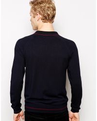 Fred Perry - Blue Knitted Polo Shirt with Tipping Long Sleeve for Men - Lyst