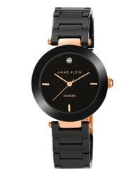 Anne Klein - Black Diamond Dial Ceramic Bracelet Watch - Lyst