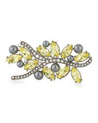 St. John | Metallic Multi Tonal Crystal Brooch | Lyst