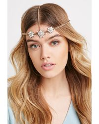 Forever 21 | Metallic Rhinestone Flower Head Piece | Lyst
