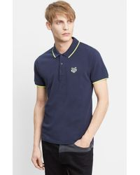 KENZO | Blue Tipped Pique Polo With Tiger Logo for Men | Lyst