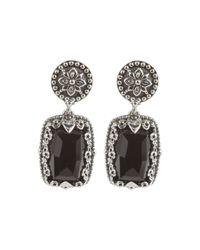 Konstantino - Black Silver & Onyx Rectangular Drop Earrings - Lyst