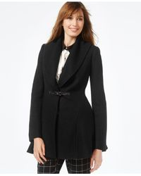Kensie | Black Buckled A-line Coat | Lyst
