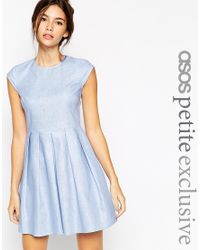 ASOS | Blue Petite Dress In Chambray Linen With Short Sleeves | Lyst