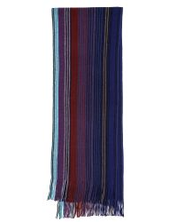 Paul Smith | Blue Stripe End Wool Scarf for Men | Lyst