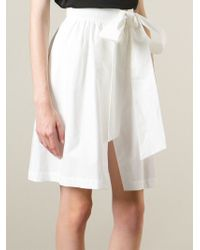 MSGM - White Wrapped Bow Skirt - Lyst