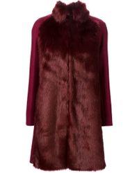 Giamba - Red Faux Fur Coat - Lyst
