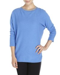 Magaschoni - Blue Three-Quarter Sleeve Cashmere Sweater - Lyst
