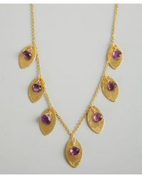 Wendy Mink - Metallic Gold and Amethyst Bead Leaf Necklace - Lyst