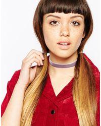 ASOS | Purple Basic Velvet Choker Necklace | Lyst