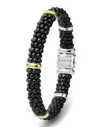 Lagos | Metallic Black Caviar Rope Bracelet With Gold | Lyst
