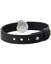 Philip Stein | Leather Horizon Doublewrap Bracelet Blackstainless | Lyst