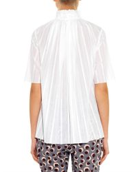 Stella McCartney - White Linette Ruffle-Neck Cotton Top - Lyst