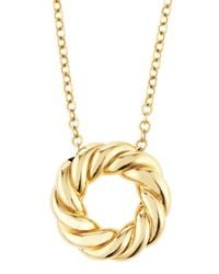 Roberto Coin - 18k Yellow Gold Twisted Circle Pendant Necklace - Lyst