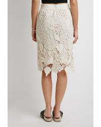 Forever 21 - Natural Contemporary Embroidered Crochet Pencil Skirt - Lyst