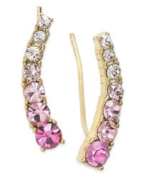 kate spade new york | Metallic 14k Gold-plated Blue Crystal Ear Climber Earrings | Lyst