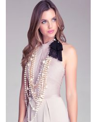Bebe - White Pearl  Stone Necklace - Lyst