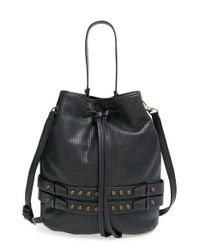 She + Lo | Black 'aim High' Perforated Drawstring Bag | Lyst