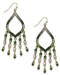 INC International Concepts | Gold-tone Green And Crystal Bead Fringe Drop Earrings | Lyst