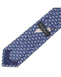 Ferragamo - Blue Dog On A Leash Printed Tie for Men - Lyst