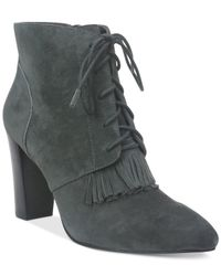 Tahari | Gray Augusta Lace-up Booties | Lyst