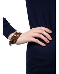 Tory Burch | Brown Studded Wrap Bracelet | Lyst