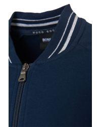 BOSS - Blue 'college Jacket Zip' | Cotton Blend Knit Track Jacket for Men - Lyst