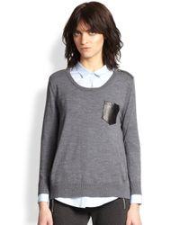 The Kooples - Gray Mesh Stripedsleeve Wool Sweater - Lyst