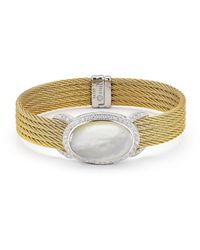 Alor | White Classique Oval-cut Mother-of-pearl & Diamond Bangle Bracelet | Lyst