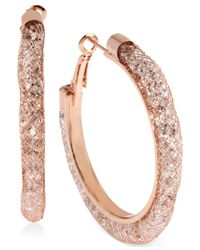 Betsey Johnson | Pink Rose Gold-Tone Mesh-Wrapped Crystal Hoop Earrings | Lyst