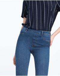 Zara   Blue Tight Fit Jeans   Lyst