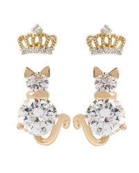 Betsey Johnson | Metallic Glitz Crown And Cat Earring Duo | Lyst