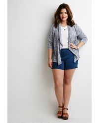 Forever 21 - Blue Plus Size Marled Shawl Collar Cardigan - Lyst