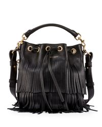 Saint Laurent - Black Emmanuelle Tiered Fringe Bucket Bag - Lyst