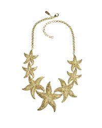 Roberto Cavalli - Metallic Sea Life Gold Tone Metal Star Fish Necklace W/Crystals - Lyst