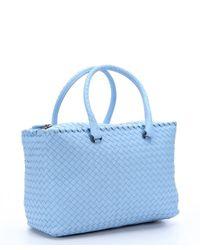Bottega Veneta | Sky Blue Intrecciato Leather Large Top Handle Bag | Lyst