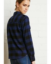 Forever 21 - Blue Buffalo Plaid Flannel Shirt - Lyst