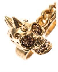 Alexander McQueen - Metallic Skull And Chain Double Ring - Lyst