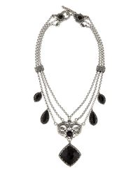Konstantino - Black Silver & Onyx Double-headed Griffin Collar Necklace - Lyst