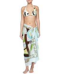 Emilio Pucci - Multicolor Long Printed Voile Pareo Coverup - Lyst