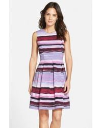 Marc New York | Purple Print Twill Fit & Flare Dress | Lyst