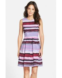 Marc New York - Purple Print Twill Fit & Flare Dress - Lyst