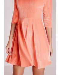 Missguided   Pink 3/4 Sleeve Velvet Skater Dress Salmon   Lyst