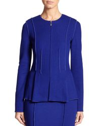 St. John | Blue Milano Flared Knit Jacket | Lyst