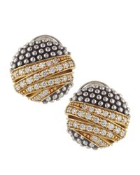 Lagos - Metallic Embrace Round Diamond Earrings - Lyst