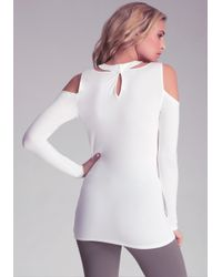 Bebe - White Cold Shoulder Cut Out Top - Lyst