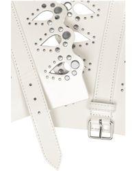 Alaïa - White Studded Laser-Cut Leather Belt - Lyst