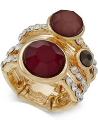 INC International Concepts | Metallic Gold-tone Mauve Stone Pavé Multi-row Ring | Lyst